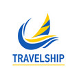bright blue speed boat sign design modern logos vector image vector image