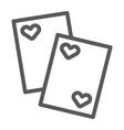 cards line icon game and casino playing cards vector image