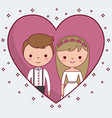 cartoon wedding couple icon vector image vector image