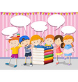 Children with books and speech bubbles vector image vector image