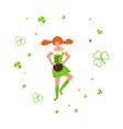 cute cartoon girl leprechaun dancing vector image vector image