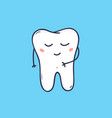 cute cheerful molar tooth with peaceful face vector image vector image