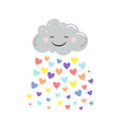 cute cloud and rain colored hearts vector image vector image