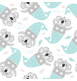 cute coala mermaid sea seamless pattern kids vector image
