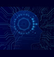cyber mind on binary code background big data vector image