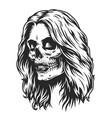 day dead makeup girl head vector image