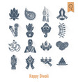 diwali indian festival icons vector image