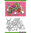 easter bunnies holiday characters coloring book vector image