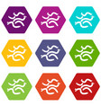 escherichia coli virus icons set 9 vector image vector image