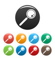 find solution magnify glass icons set color vector image