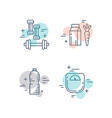 fitness line icons vector image vector image