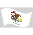 Flag of Illinois waving on gray background vector image vector image