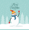 flat design christmas card with happy snowman vector image vector image