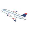flight passenger plane on white background vector image vector image