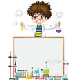 frame template design with kid in science lab vector image