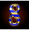 golden and blue letter 8 vector image vector image