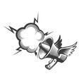 hand drawn megaphone with wings and bubble vector image