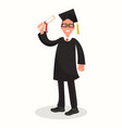 happy guy university graduate in black gown vector image