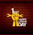 happy labour day label with strong orange vector image vector image
