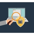 internet security hand search file vector image