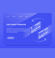 isometric money transfer landing page vector image