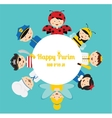 kids wearing different costumes happy purim in vector image
