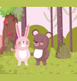 little rabbit and bear cartoon character forest vector image