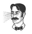 man beams rays out his eyes sketch vector image