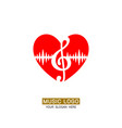 music logo musical heart with treble clef vector image