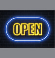 Neon open sign brick wall