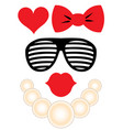 party accessories set - glasses necklace lips vector image