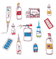 Pills and medical bottles vector image