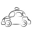 police car drawing on white background vector image vector image