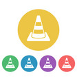road cone set of colored round icons vector image vector image