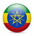 Round glossy icon of ethiopia vector image vector image