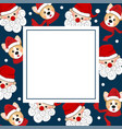 santa claus and corgi with red scarf on indigo vector image vector image
