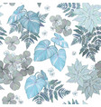 seamless floral pattern fern leaves and plants vector image vector image