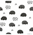 seamless pattern with silhouettes of hedgehogs vector image