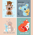 set cute baby greeting or invitation cards vector image