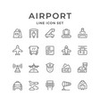 set line icons of airport vector image vector image