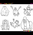 set of monkeys animal characters color book vector image