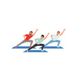 smiling men training in gym three young guys vector image vector image