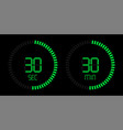 stopwatch digital green countdown timer vector image vector image