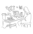 the girl is working at the table sketch vector image vector image