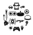virtual reality icons set simple style vector image
