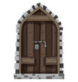 wooden door with metal lock vector image vector image