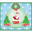 Christmas greeting card - funny Santa Claus vector image