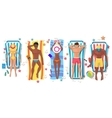 Summer beach people on sun lounger icons vector image