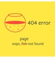 404 error with red empty aquarium vector image