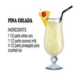 a glass cocktail pina colada with ingredients vector image